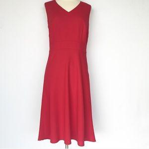 LOFT red midi dress